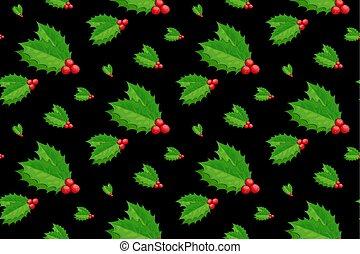 vector, black., 10, decoración, caricatura, acebo, eps, berry., navidad, pattern., muérdago, seamless, fondo.