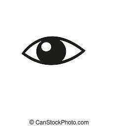 vector, blanco, fondo., icono, ilustración, ojo