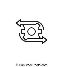 vector, blanco, fondo., organización, concept., icono, eficaz, ilustración, proceso, workflow, empresa / negocio, plano, style., aislado, engranaje