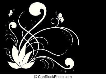 vector, blanco, ilustración, floral, negro
