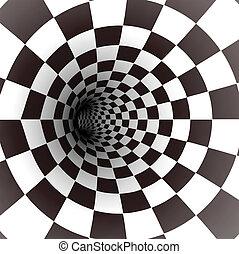 vector, blanco, tunnel., negro, espiral