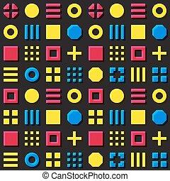 Vector bloques geométricos primitivos sin costuras en la matriz de magenta y colores amarillos sobreimpresión en el fondo negro