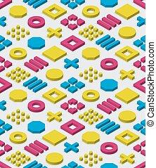 Vector bloques iométricos sin costura en cyan magenta y color amarillo patrón geométrico en el fondo blanco