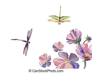 vector, botánico, iris, vendimia, libélula, white., frontera, flores