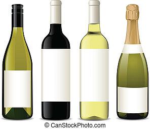 vector, botellas, vino