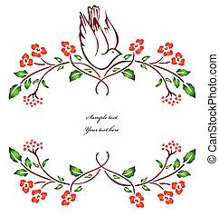 vector, branch., flor, pájaro, sentado