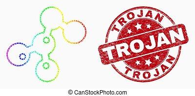 Vector brillante píxelado icono de microbios y sello de troyano angustiado