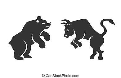 Vector Bull y oso iconos financieros