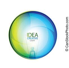 vector, burbuja, brillante, idea