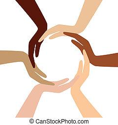 Vector - círculo de diferentes manos
