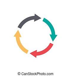 vector, círculo, flechas, infographic