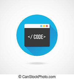 vector, código, redactor, icono