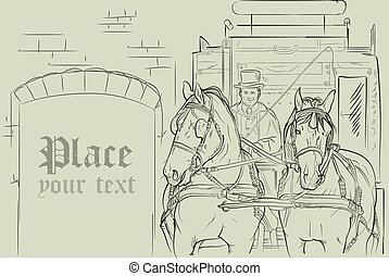 Vector caballos en carruaje