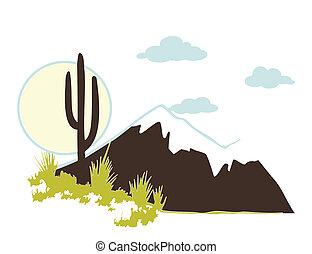 vector, cacto, montañas., saguaro