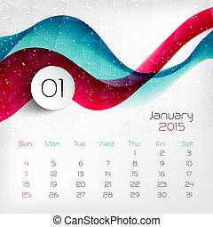 vector, calendar., 2015, january., ilustración