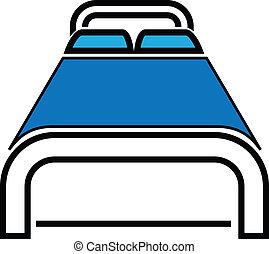 vector, cama, ilustración, icono