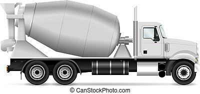 vector, camión, batidora, ilustración