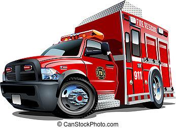 vector, camión, caricatura, rescate