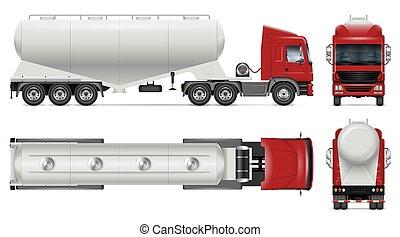 vector, camión, espalda, cemento, portador, cima, bulto, lado, vista, frente, mockup