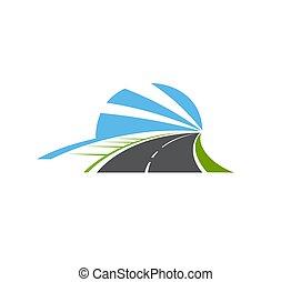 vector, camino, carretera, camino, aislado, carril, icono, dos