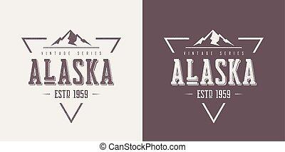 vector, camiseta, alaska, ropa, textured, diseño, vendimia, estado