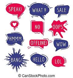 vector, caricatura, burbujas, pensamiento, frase, sonido, oratoria, cómico, humor, comunicación, text., palabras, discurso, etiquetas, pegatina, expresión