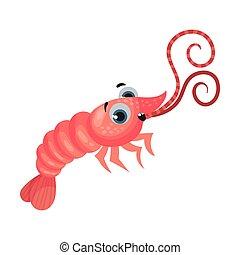 vector, caricatura, camarón, ilustración, grande, lindo, ojos, carácter