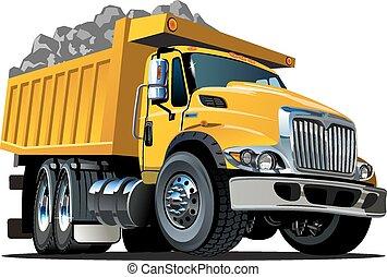 Vector caricatura camión volcado