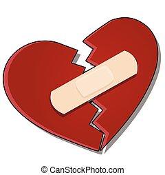 vector, caricatura, fondo., primer plano, blanco, corazón roto, aislado, illustration., pegado, juntos, yeso