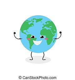 vector, caricatura, ilustración, carácter, alegre, fuerte, globo