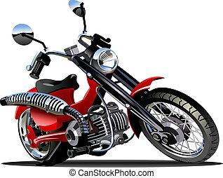 vector, caricatura, motocicleta