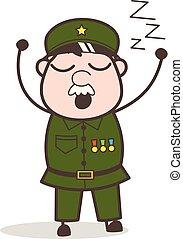 vector, caricatura, muy, soñoliento, sentimiento, ilustración, sargento
