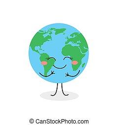 vector, caricatura, planeta, ilustración, alegre, carácter, tierra