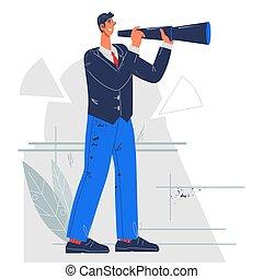 vector., carrera del negocio, plano, oportunidad, desarrollo, tareas, plan, visión