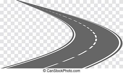 Vector carretera de cuerda aislada en el fondo transparente.