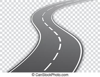 Vector carretera de cuerda aislada en el fondo transparente. Vector EPS 10.