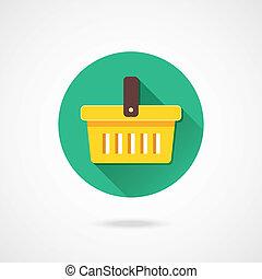 vector, carro de compras, icono