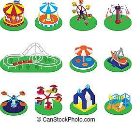 Vector carrusel, carrusel, carrusel o rodeos y iconos de circo de carnaval de ilustraciones de parques de atracciones redondas aisladas en el fondo blanco