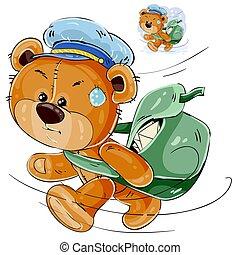 vector, cartero, cartas, oso, apresuramiento, bolsa, teddy, ilustración, marrón, proceso de llevar