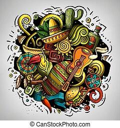 vector cartoon doodles latin America ilustracion