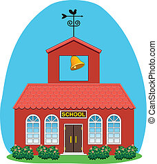 vector, casa de campo, escuela