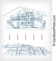 vector, casa, plan., modelo, estilizado, piso