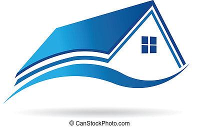 vector, casa, propiedad, icono, acuático azul, image., verdadero