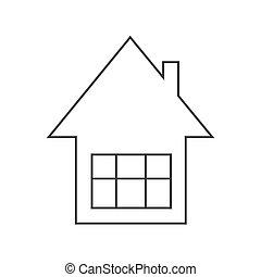 vector, casa, silueta, contorno, simple