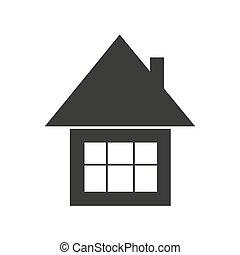 vector, casa, silueta, icono, simple