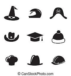 Vector casco negro y iconos de sombrero