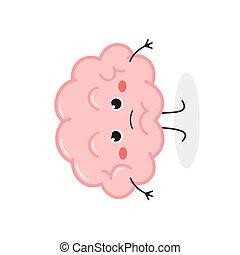 vector, cerebro, caricatura, ilustración, carácter, enojado, divertido