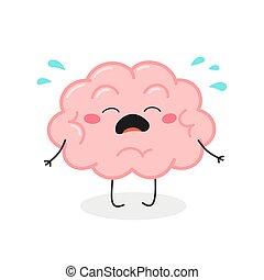 vector, cerebro, caricatura, ilustración, llanto, lindo, carácter