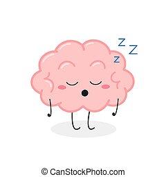 vector, cerebro, divertido, ilustración, caricatura, dormido, carácter