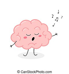 vector, cerebro, ilustración, caricatura, lindo, canto, carácter